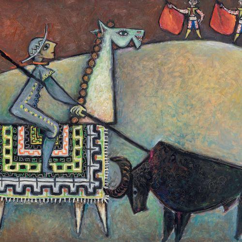 Pinchas SCHAAR (1923 1996) • Picadores, Palma Mallorca,1954 Huile sur toile, sig…