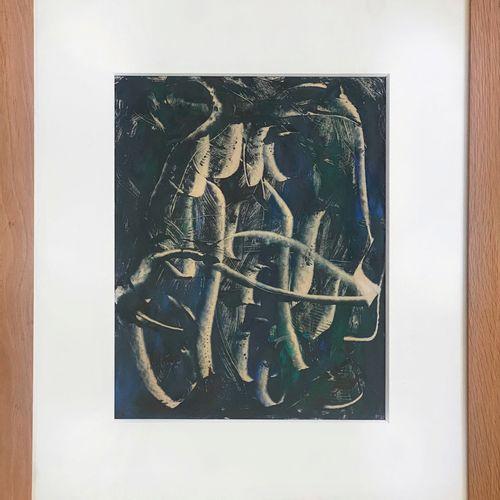 Jolande FIEVRE (1907 1983) • Composition Technique mixte sur papier (soie?), enc…