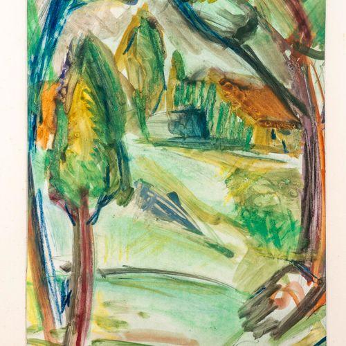 Bela Adalbert CZOBEL (1883 1976) • Paysage cubisant Gouache et aquarelle sur pap…