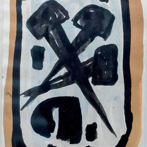 Alfred MANESSIER (1911 1993) • Trois clous, 1954 Gouache sur papier, monogrammée…
