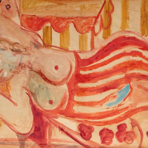 PIERRE TAL COAT (1905 1985) • Xavière allongée,1943 Huile sur papier, marouflée …