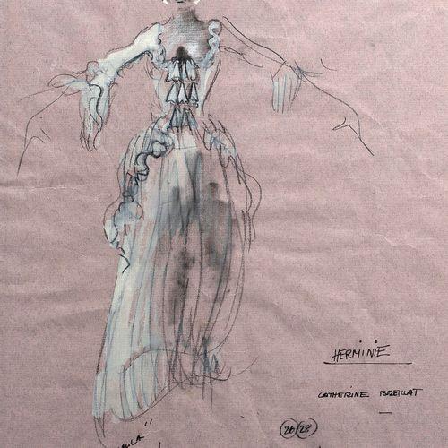 Jacques FONTERAY (1918 2013) • Projet de costume pour Catherine Breillat dans le…