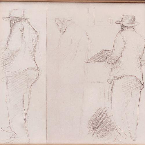 Camille PISSARRO (1830 1903) attribué à • Peintre au chevalet Fusain sur deux mo…