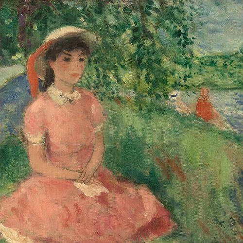 François GALL (1912 1987) • Fille au bord d'un fleuve Huile sur toile, signée en…