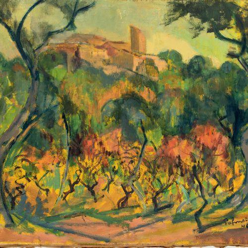 José PALMEIRO (1901/03 1994) • Paysage avec un château, 1946 Huile sur toile, si…