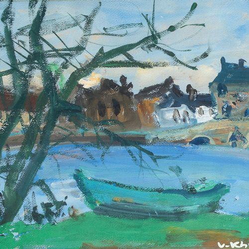 Vasyl (Vassili) KHMELUK (1903 1986) • Paysage Gouache sur papier, signée en bas …