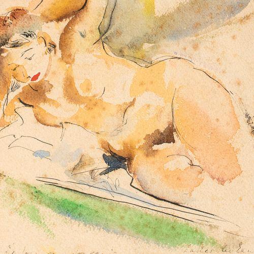LUDWIK KLIMEK (1912 1992) • Nu allongé Aquarelle sur papier, signée en haut à dr…