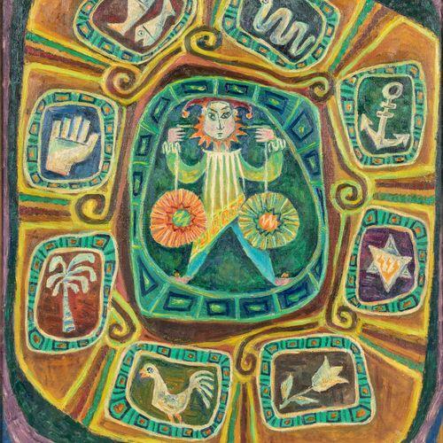 Pinchas SCHAAR (1923 1996) • Composition au personnage Huile sur toile, signée e…