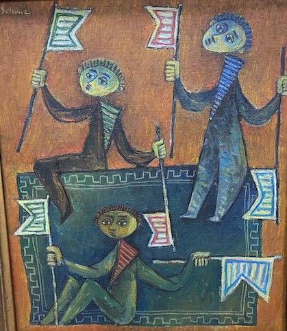 Pinchas SHAAR • Garçons avec des drapeaux, 1955 Huile sur toile, signée en haut …