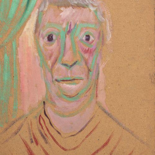 PIERRE TAL COAT (1905 1985) Portrait d'homme Gouache sur carton contrecollé sur …