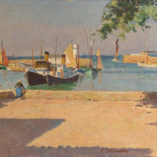 EUGÈNE CORNEAU (1894 1976) Le port Huile sur toile, signé en bas à gauche 32.8 x…