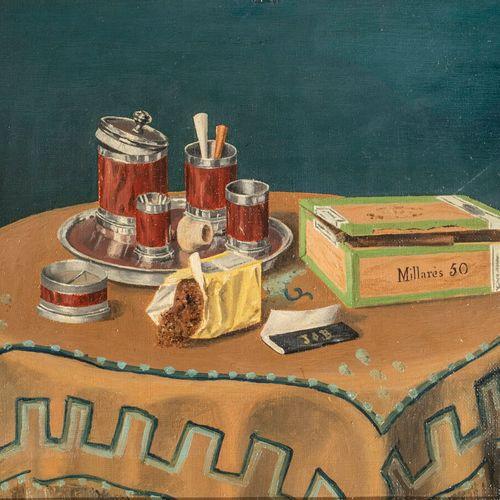 J. THOMAS ( XXème siècle) Nature morte au café et à la bouteille de rhum Nature …