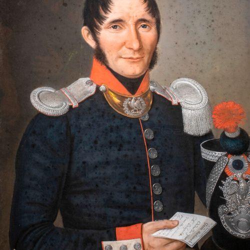 ECOLE FRANCAISE XIXeme SIECLE Portrait d'un officier de la Garde Nationale Paste…