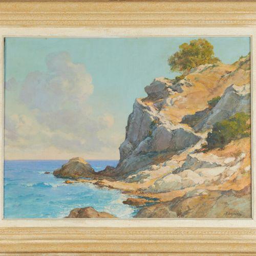 DESAIRE Fernand (1885 1958) «Grand rocher près de Villefranche» Huile sur toile …