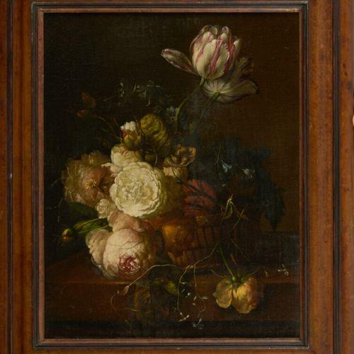 Dans le goût de l'école flamande du XVIIème siècle Nature morte de fleurs sur un…