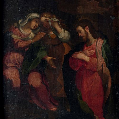 ECOLE ITALIENNE DU XVIIème SIECLE «Le Christ et les Saintes femmes» huile sur to…