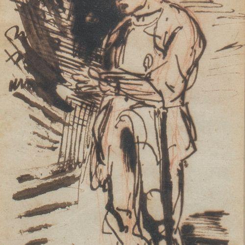 Eugène DELACROIX (Charenton St Maurice 1798 Paris 1863) Étude de chevalier en ar…