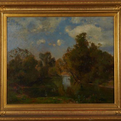 VANDERHOUVEN F. «Paysage à la rivière» Huile sur toile signée en bas à gauche 49…