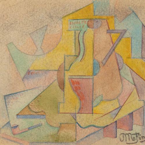 Jean METZINGER (1883 1956) Nature morte cubiste Aquarelle, signée en bas à droit…