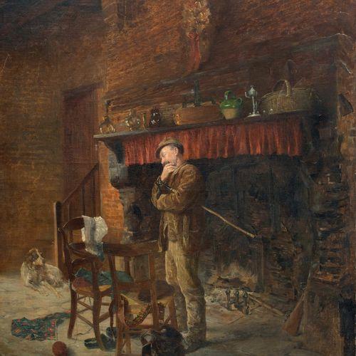 ECOLE FRANCAISE XIXeme SIECLE Chasseur près de la cheminée Huile sur toile, port…