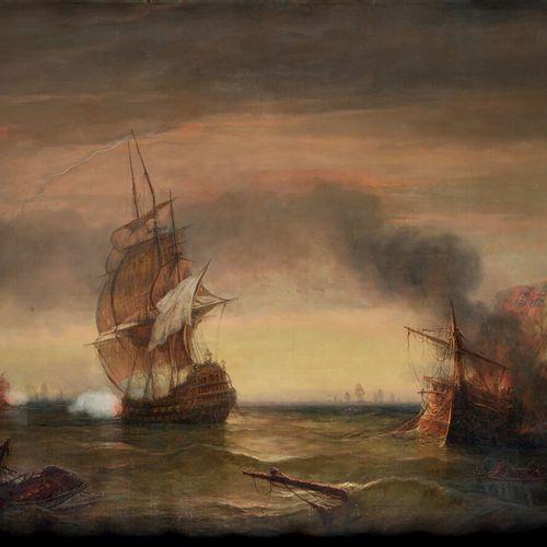BARRY François (1813 1905) «Bataille navale» Huile sur toile signée en bas à gau…