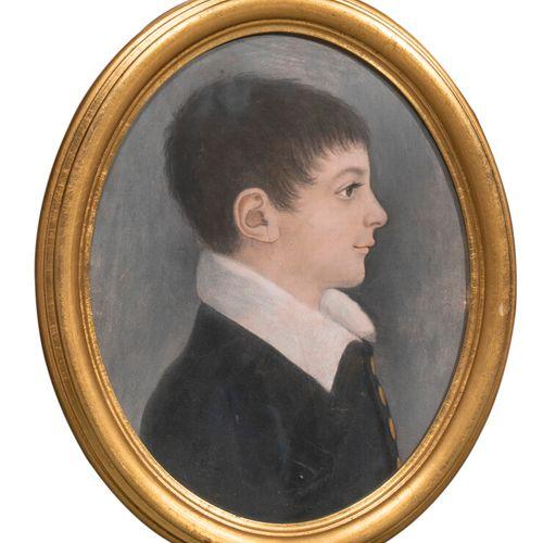 ECOLE FRANCAISE XIXème Porrait d'enfant Pastel ovale sur papier 29 x 22.5 cm