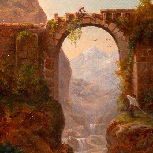 ECOLE ITALIENNE XIXème siècle Paysage montagneux au pont et au pêcheur Huile sur…