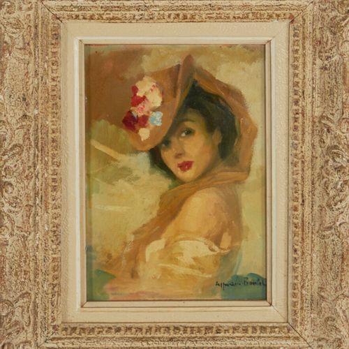 BOULET Cyprien (1877 1927) «Jeune élégante au chapeau» Huile sur carton signée e…