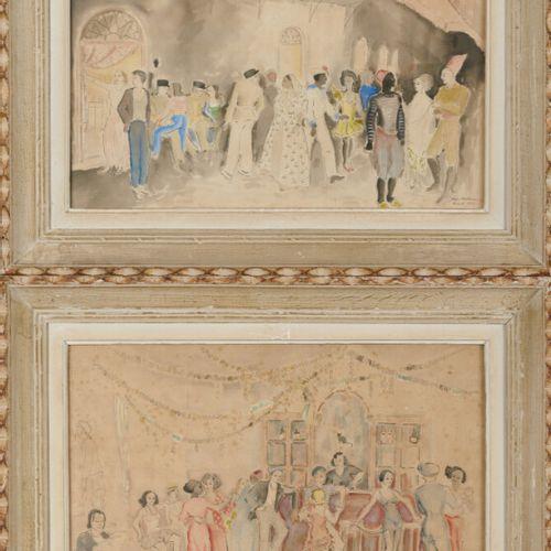 BOLHMAN Edgard (1902 ?) «Scènes de bal en Afrique du Nord» deux aquarelles forma…