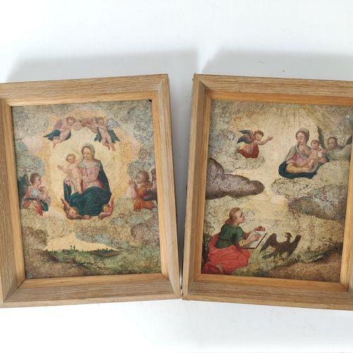 Ecole XVIIème siècle «Vierge dans des nuées» et «Saint Jean à Patmos» Deux huile…