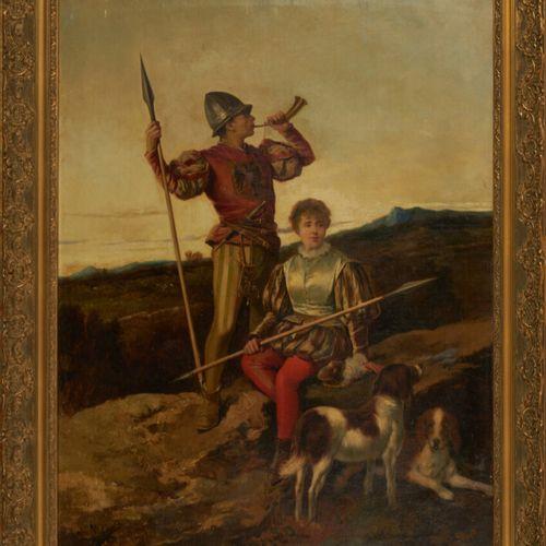 PICOLO LOPEZ Manuel (1855 1912) «Scène de chasse» Huile sur toile signée en bas …
