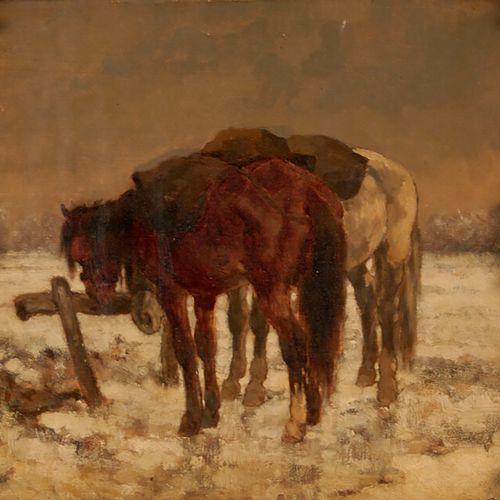 Attribué à HUBERT A. «Chevaux sous la neige» huile sur carton 33 x 35 cm