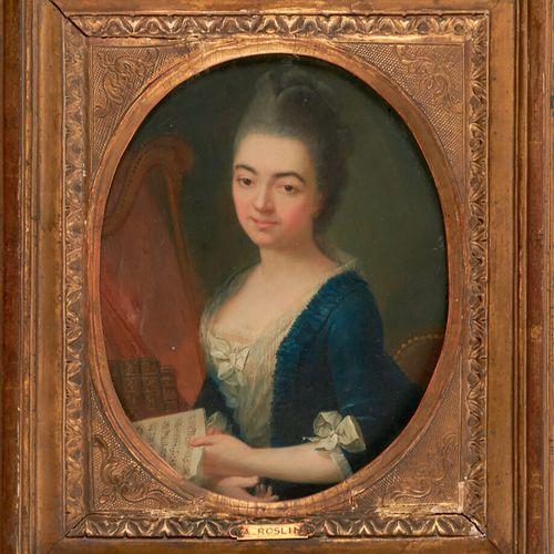 Ecole Française du XVIIIème siècle Portrait de jeune femme à la harpe tenant une…