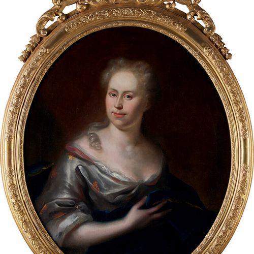 École FRANÇAISE de la fin du XVIIIème siècle «Portrait de dame tenant un ouvrage…