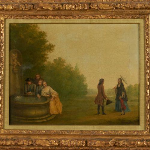 ECOLE FRANCAISE DU XIXème siècle Scène galante près d'une fontaine Huile sur toi…
