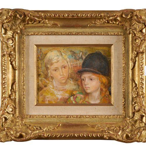 MORETTI Lucien Philippe (1922 2000) «Les deux écuyères» huile sur toile signée e…