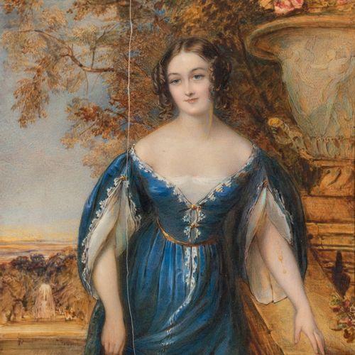 BARCLAY, vers 1880 Portrait de jeune femme à la roble bleue Grande miniature sur…