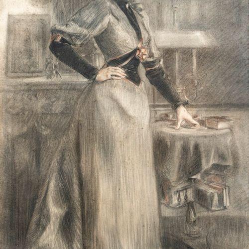 P.BAIGNERES Femme dans un intérieur Fusain et pastel sur papier, signé en bas à …