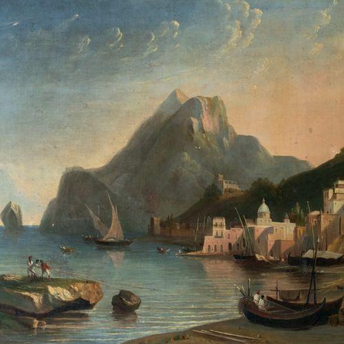 ECOLE ITALIENNE XIXème siècle Port animé Huile sur toile 64 x 80 cm