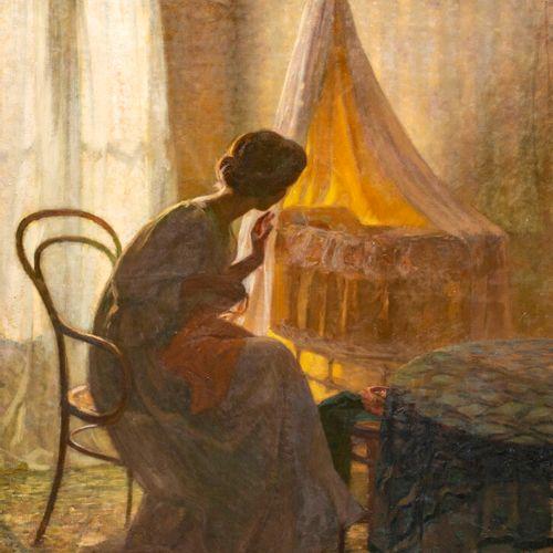 Henri Amédée Wetter Intérieur à la jeune femme et au berceau Huile sur toile, si…