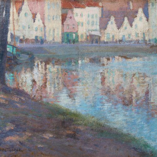 Fernand Lantoine (1876/78 1955) Port Huile sur carton contrecollé sur panneau, s…