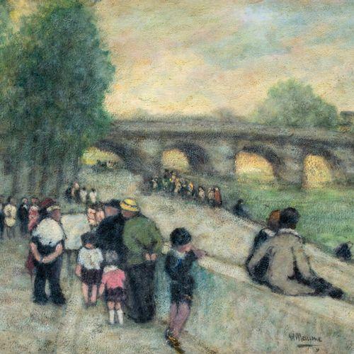 Louis WILLAUME (1874 1949) Les quais de Seine Huile sur papier contrecollé sur p…