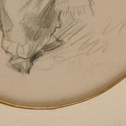 KEMMERER H. «Elégante de dos» dessin au crayon noir, porte le cachet effacé de l…