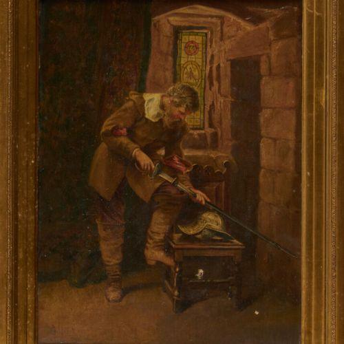 GILBERT J. «Homme à l'épée» huile sur toile signée en bas à gauche et datée 1857…