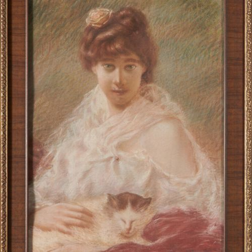 BARONET H. «Jeune femme au chat» pastel signé en bas à droite et daté 1897 59 x …