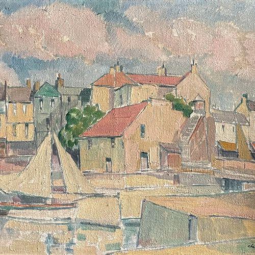 Pierre DE BELAY (1890 1947) Port Huile sur toile, signée en bas, à droite 60 x 7…