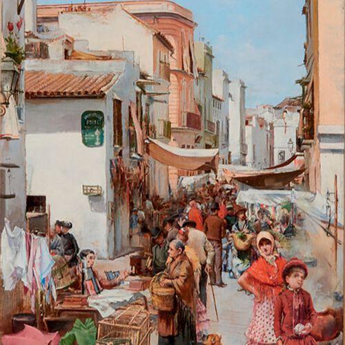 CABRAL Y LLANO Enrique (XIXème) «Le marché à Séville» huile sur panneau signée e…