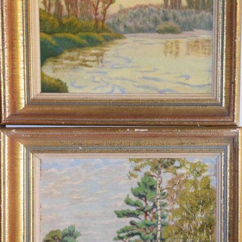 LACOSTE CHARLES (1870 1959) «Les Landes» Deux huiles sur papier, l'une signée en…