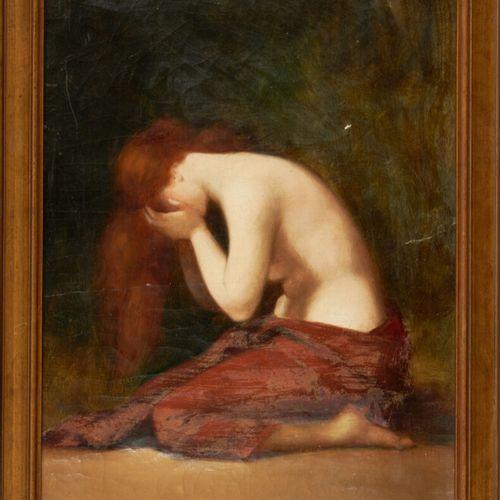 ROLLAND H. «Pleureuse» Huile sur toile signée en bas à droite (humidité, acciden…