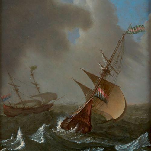 Attribué à PORCELLIS Jan (c.1584 1632) «Navires de haut bord sous le vent» cuivr…